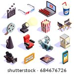 cinema hall and movie making... | Shutterstock .eps vector #684676726