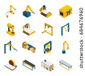 robotic machinery isometric... | Shutterstock .eps vector #684676960
