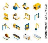 robotic machinery isometric... | Shutterstock .eps vector #684676960