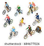 bicycle isometric people set of ... | Shutterstock .eps vector #684677026