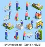 isometric people shopping set... | Shutterstock .eps vector #684677029