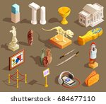 Museum Icon Isometric Set Of...