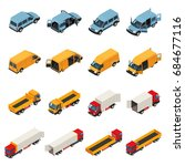 truck isometric set of isolated ... | Shutterstock .eps vector #684677116