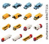 truck isometric set of isolated ... | Shutterstock .eps vector #684677116