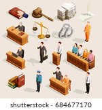 law icon isometric set of... | Shutterstock .eps vector #684677170