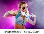 young fashionable girl in disco ... | Shutterstock . vector #684679684