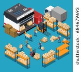 warehouse isometric composition ... | Shutterstock .eps vector #684679693