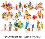families spending free time... | Shutterstock .eps vector #684679780