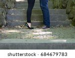 lovers by the stone stairs | Shutterstock . vector #684679783
