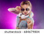 young fashionable girl in disco ... | Shutterstock . vector #684679804