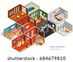 isometric composition of hotel... | Shutterstock .eps vector #684679810