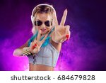 young fashionable girl in disco ... | Shutterstock . vector #684679828