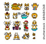 corgi emoji stickers  patches... | Shutterstock .eps vector #684684268