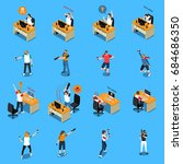 people in cyber sport isometric ... | Shutterstock .eps vector #684686350