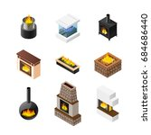 nine isolated fireplace designs ... | Shutterstock .eps vector #684686440