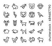 Animals Line Vector Icons 4
