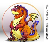 cartoon red dragon. vector... | Shutterstock .eps vector #684690748