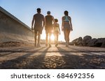 back view of a group of young... | Shutterstock . vector #684692356