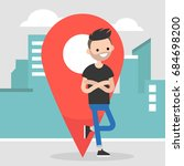 location pin. navigating in the ... | Shutterstock .eps vector #684698200