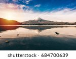 mt.fuji in kawaguchiko lake... | Shutterstock . vector #684700639