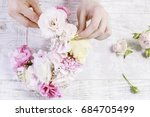florist at work  how to make... | Shutterstock . vector #684705499