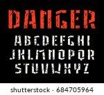 stencil plate sanserif font.... | Shutterstock .eps vector #684705964