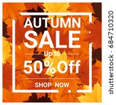 autumn sale banner with...   Shutterstock .eps vector #684710320
