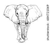 Sketch By Pen African Elephant...