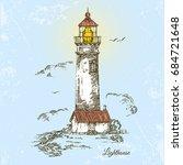 lighthouse. vintage style.... | Shutterstock .eps vector #684721648
