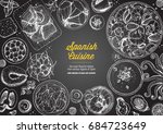 spanish cuisine top view frame. ... | Shutterstock .eps vector #684723649
