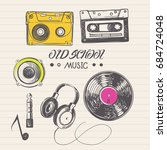 doodle drawings of audio... | Shutterstock .eps vector #684724048