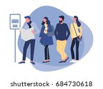 group of diverse people waiting ... | Shutterstock .eps vector #684730618