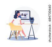 woman graphic designer working... | Shutterstock .eps vector #684730660