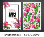 tropical palm leaves and... | Shutterstock .eps vector #684733099