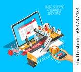 online shopping isometric... | Shutterstock .eps vector #684737434