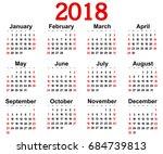 great new wall calendar 2018 | Shutterstock . vector #684739813