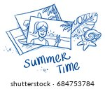 pile of summer holiday... | Shutterstock .eps vector #684753784