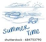 summer beach sunset landscape... | Shutterstock .eps vector #684753790