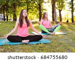 group of yoga   several young ... | Shutterstock . vector #684755680