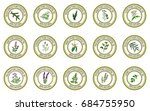 set of essential oil labels.... | Shutterstock .eps vector #684755950