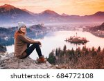 travel slovenia  europe. woman... | Shutterstock . vector #684772108