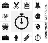 set of 12 editable education... | Shutterstock .eps vector #684773776