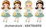 Vector Cute Little Girls With...