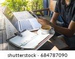 smart asian man digital nomad... | Shutterstock . vector #684787090