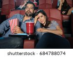 young couple sitting in the... | Shutterstock . vector #684788074