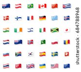 world flags vector icon set.... | Shutterstock .eps vector #684788968