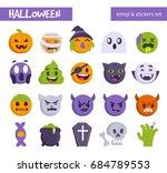 halloween emoji set. flat...