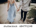 stylish hipster couple walking  ... | Shutterstock . vector #684791248