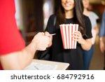 closeup of a woman holding a... | Shutterstock . vector #684792916