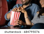 man touching the hand of his...   Shutterstock . vector #684795076